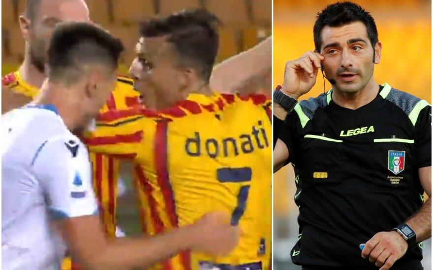 """""""Lazio"""" - """"Lecce"""" rungtynių momentas, teisėjas"""