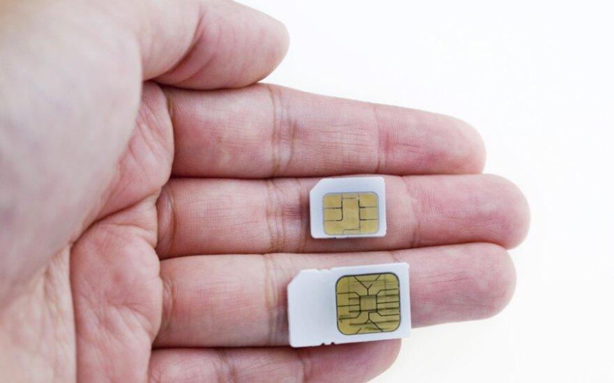 SIM kortelių dydžių palyginimai