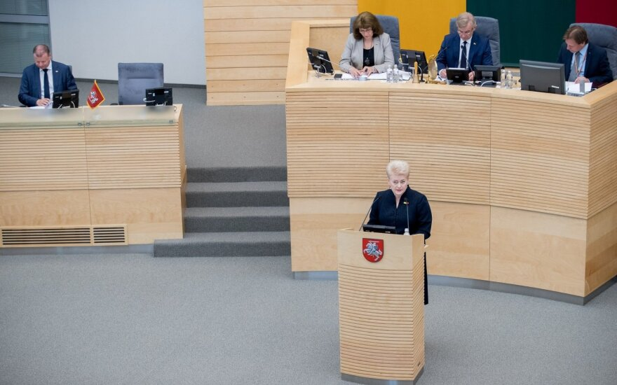 President Dalia Grybauskaitė making her annual address