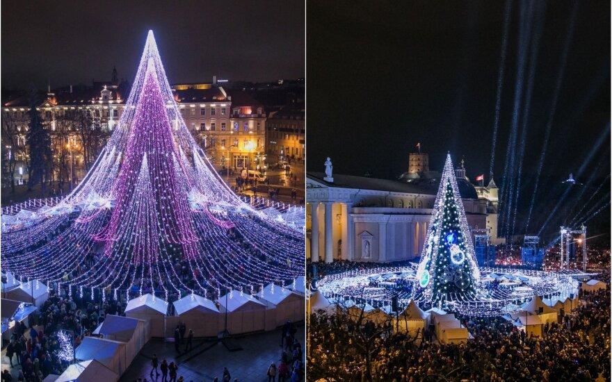 Pernykštė ir šiųmetė Vilniaus Kalėdų eglės