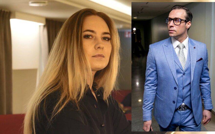 Andrius Kandelis ir jį kaltinanti Viktorija Gaidytė /Foto: DELFI ir LNK