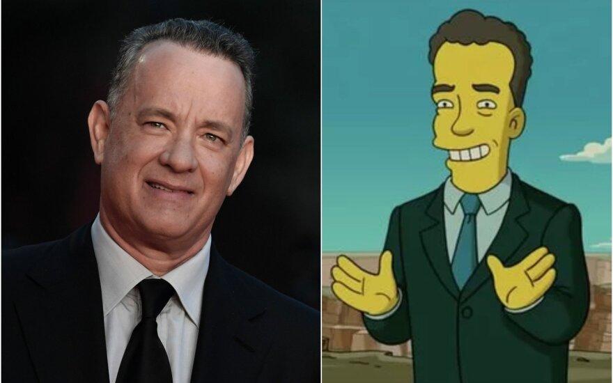 """Tomas Hanksas / Foto: Scanpix, """"Simpsonų"""" stopkadras"""