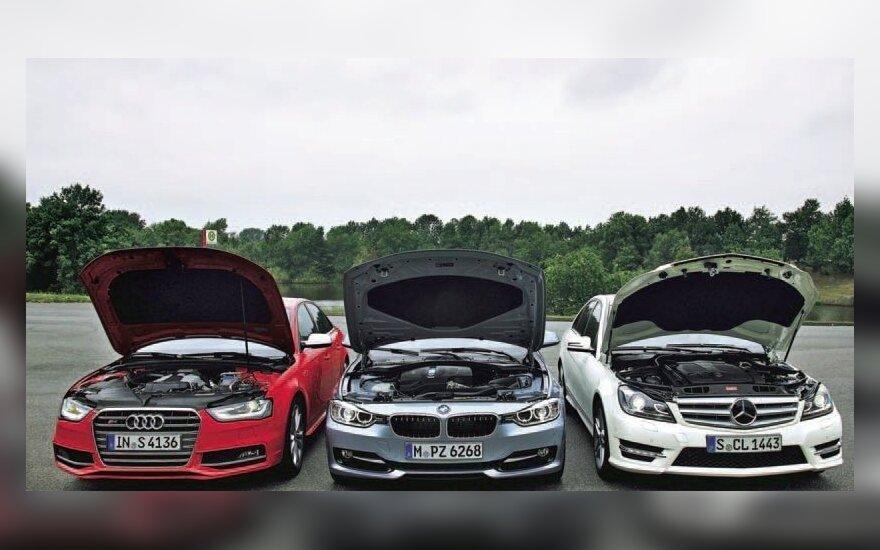 Audi, BMW ir Mercedes sedanai