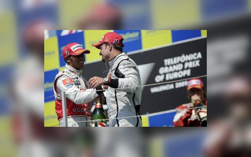 Lewisas Hamiltonas ir  Rubensas Barrichello