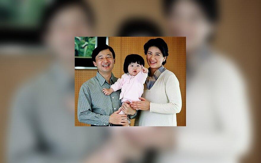 Kronprincas Naruhito ir kronprincesė Masako su dukrele, princese Aiko