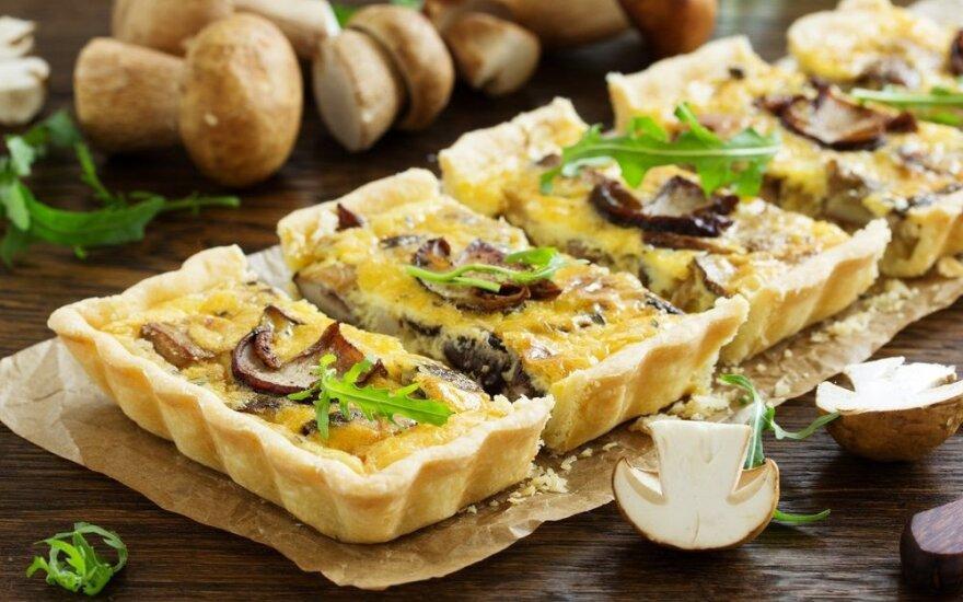 Itališkas pyragas su grybais ir grietinėle