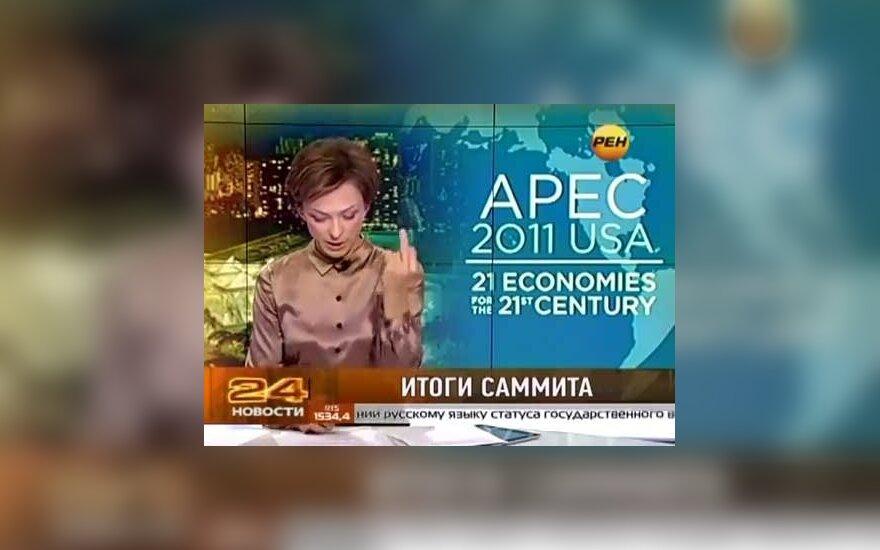 Rusijos TV vedėja parodė nepadorų gestą