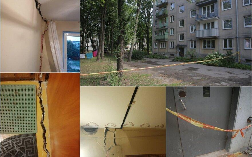 Siaubą išgyvenę griūvančio namo Kaune gyventojai: naktį išgirdome, kaip trūkinėja sienos