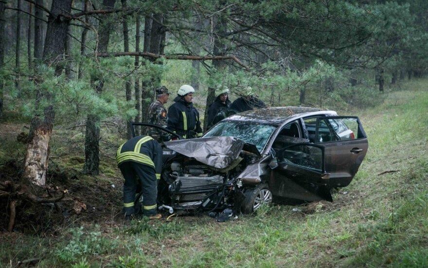 Žiauri avarija kelyje Vilnius-Alytus: automobilis rėžėsi į medį, sunkiai sužaloti žmonės