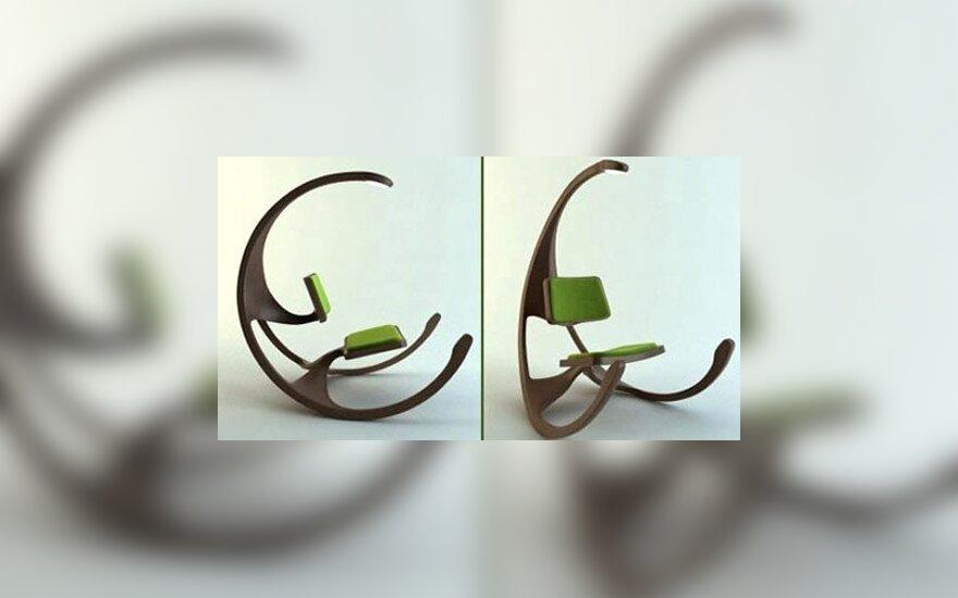 7. Supamasis rato formos krėslas. Dizainas: Mathias Koehler. Aprašymas: pavojingas supamasis krėslas su lempa virš jo.