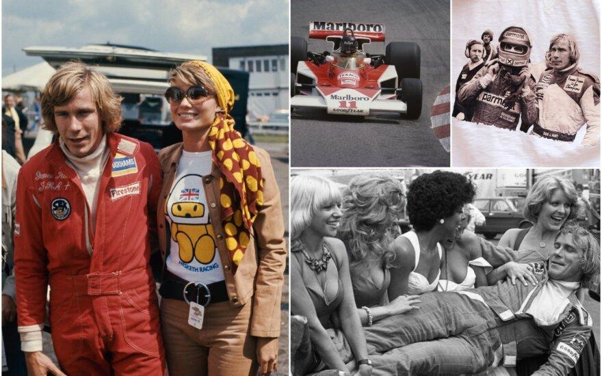 Jamesas Huntas su žmona Suzy Miller, su Niki Lauda, su gerbėjomis / Foto: Getty Images, Twitter