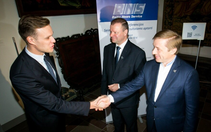 Gabrielius Landsbergis, Saulius Skvernelis and Ramūnas Karbauskis, day after the elections