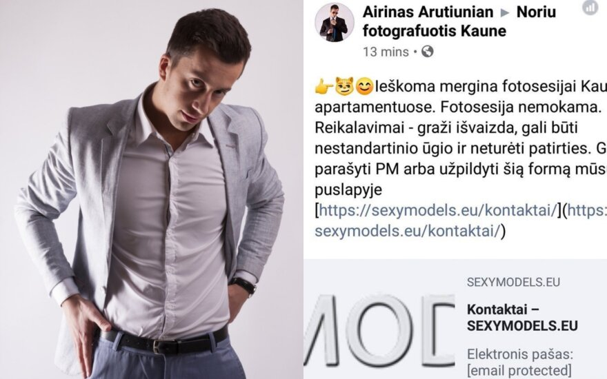 """Airinas Arutiunianas, """"Facebook"""" skelbimas"""