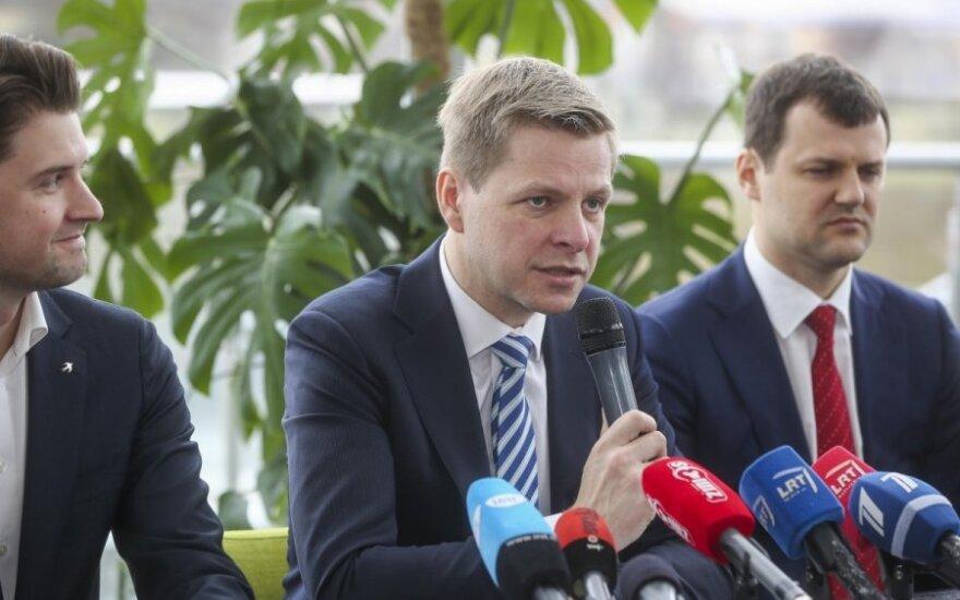 Mykolas Majauskas, Remigijus Šimašius and Gintautas Paluckas after signing agreement on Vilnius City Council's ruling coalition
