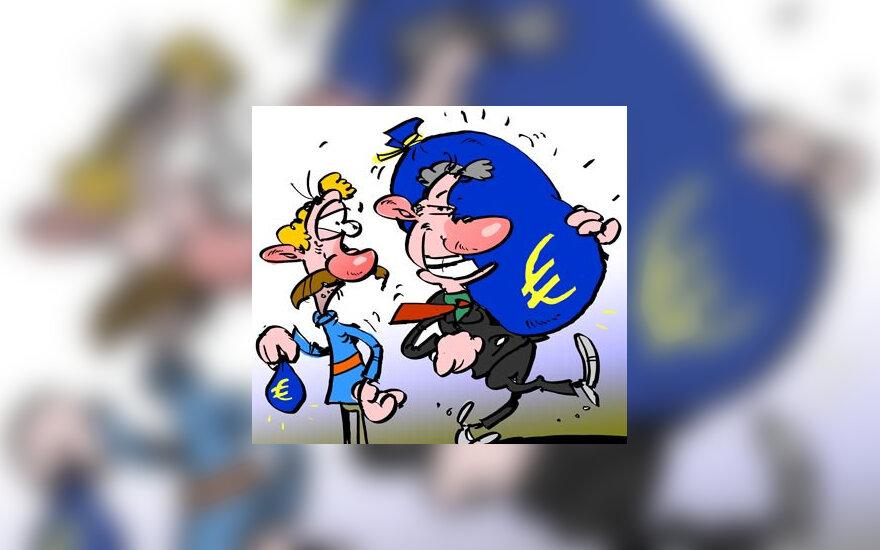 Karikatura - Europos biudzeto dalybos