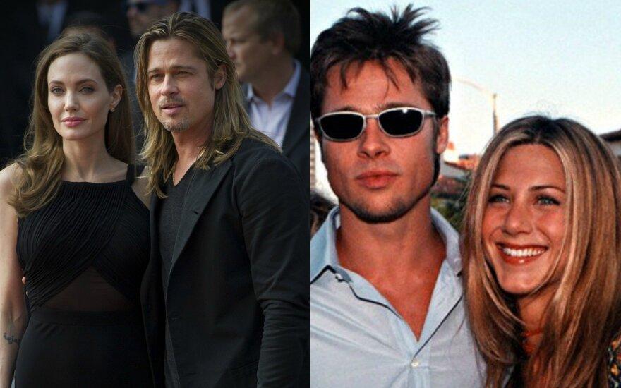 Skyrybas su A. Jolie išgyvenantis B. Pittas ir vėl bičiuliaujasi su buvusia žmona