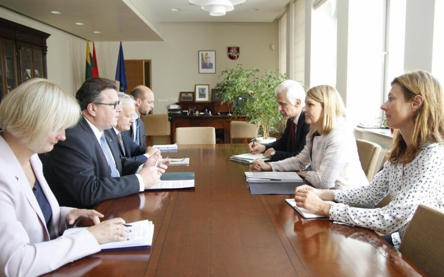 Lithuanian Minister of Foreign Affairs Linas Linkevičius met with Marie Kiviniemi, Deputy Secretary-General of the Organisation for Economic Co-operation and Development. Photo MFA
