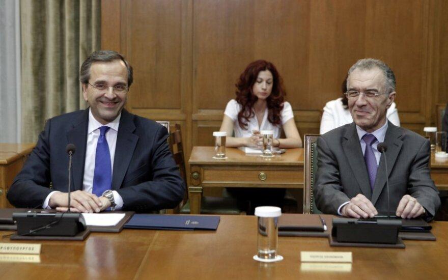 Graikijos premjeras Antonis Samaras ir finansų ministras Vassilis Rapanos