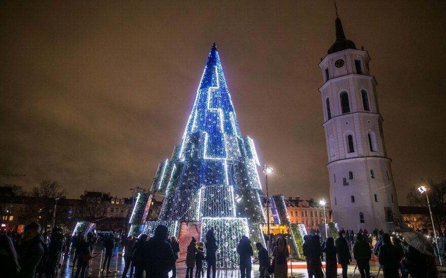 Kalėdų eglutės įžiebimas Vilniaus Katedros aikštėje