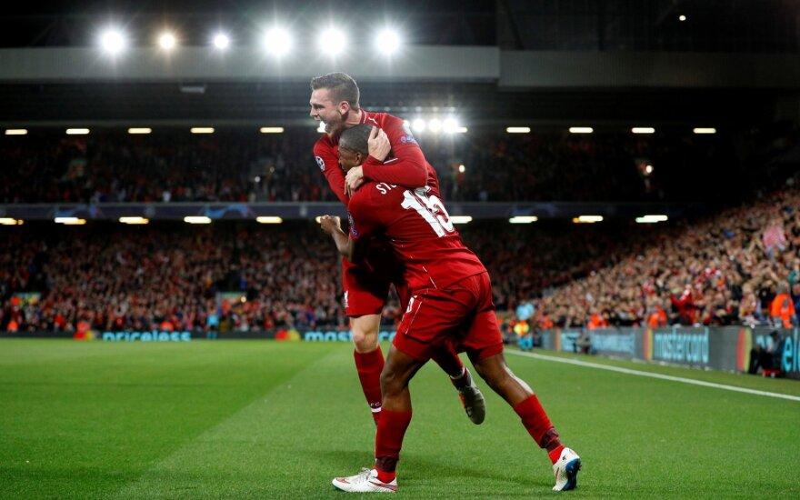 """Penkių įvarčių trileryje """"Liverpool"""" 92 minutę išplėšė pergalę prieš PSG"""