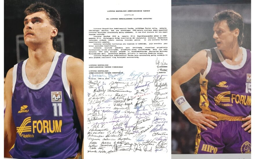 "Arvydas Sabonis, Valdemaras Chomičius, Lietuvos Nepriklausomybės aktas / Foto: ""Gigantes del Basket"" žurnalas, Delfi archyvas."