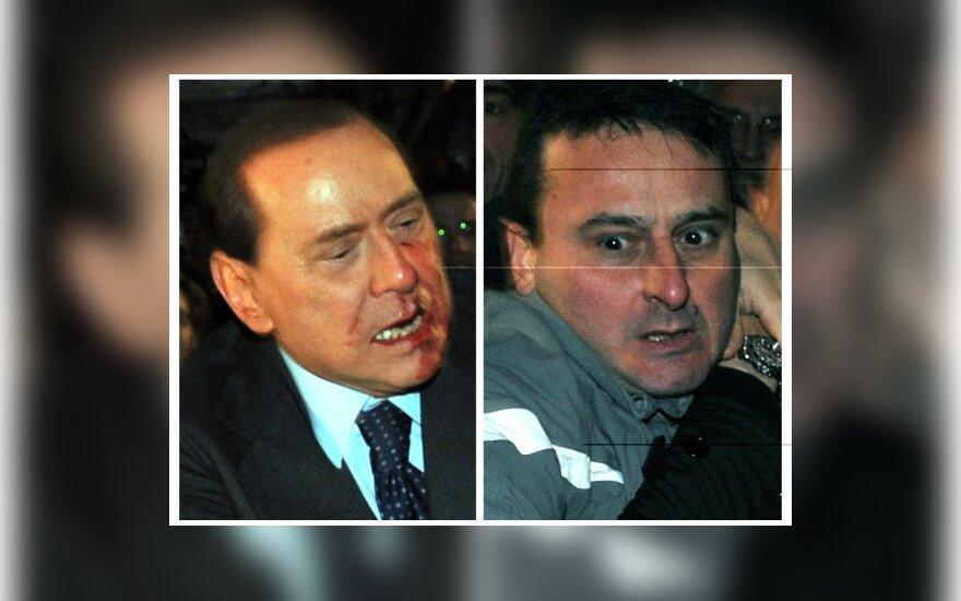 Massimo Tartaglia užpuolė Silvio Berlusconi