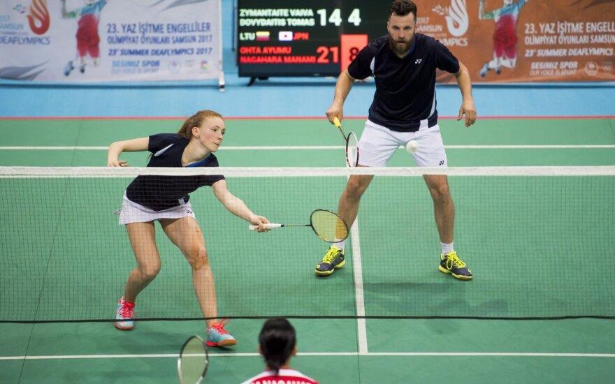 Lietuvos badmintonininkai kurčiųjų žaidynėse pateko į vienetų ir dvejetų varžybų aštuntfinalius