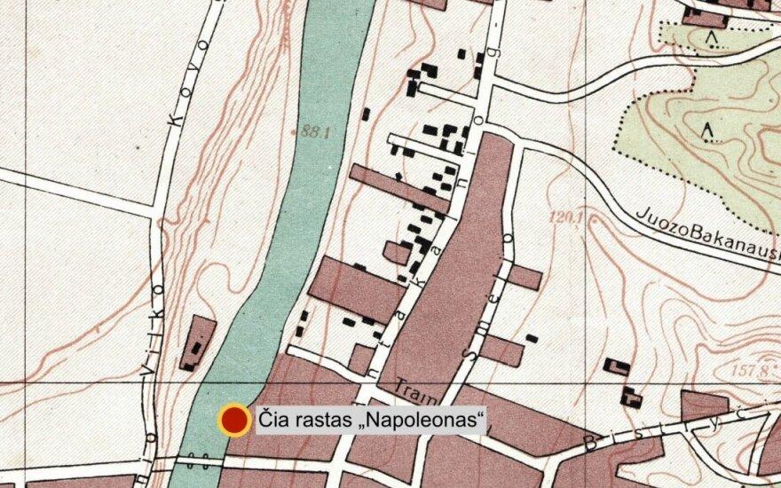 1940 m. Vilniaus plano fragmentas. Gangsterio Napoleono nužudymo ir kūno radimo vietos.