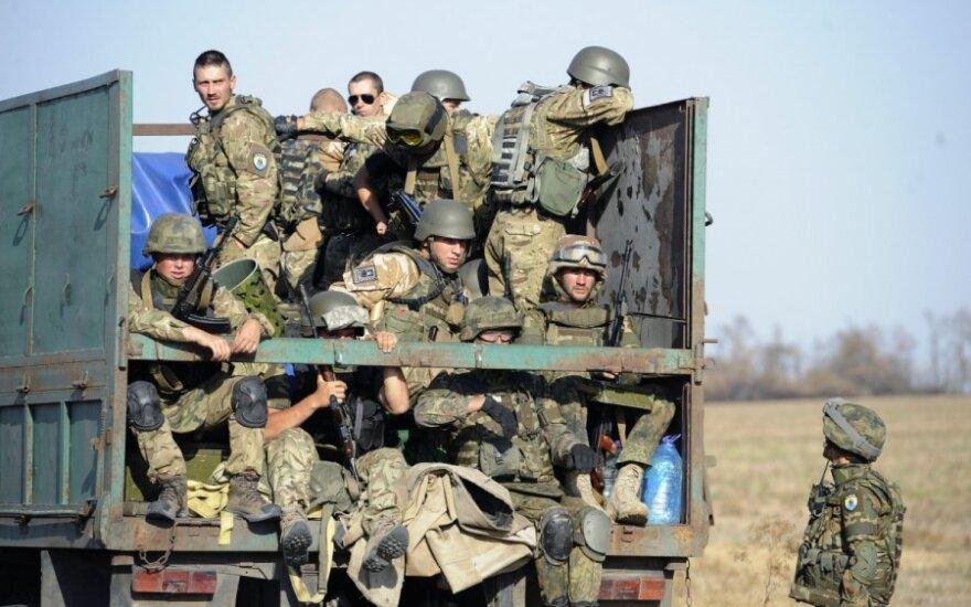 """Ukrainos bataliono """"Azov"""" kariai prie Mariupolio"""