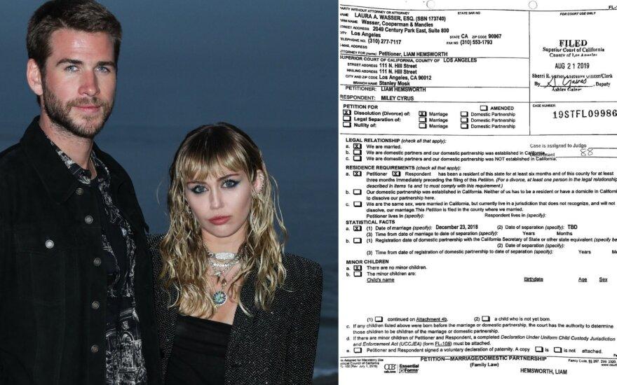 Liamo Hemswortho skyrybų su Miley Cyrus dokumentai