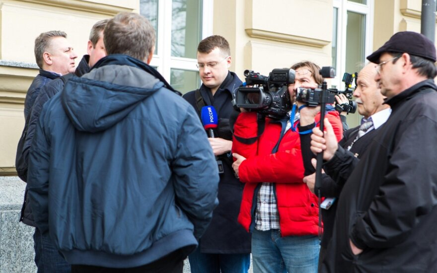 Rossiya journalists waited for forum participants outside hotel in Vilnius