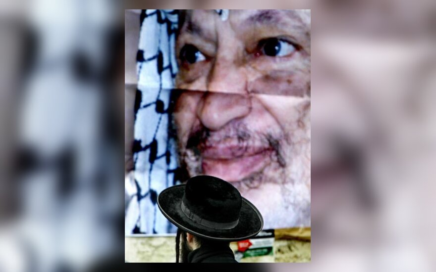 Plakatas su Y.Arafato nuotrauka