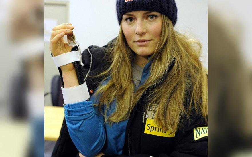 Pasaulio kalnų slidinėjimo čempionė L.Vonn susižeidė švęsdama