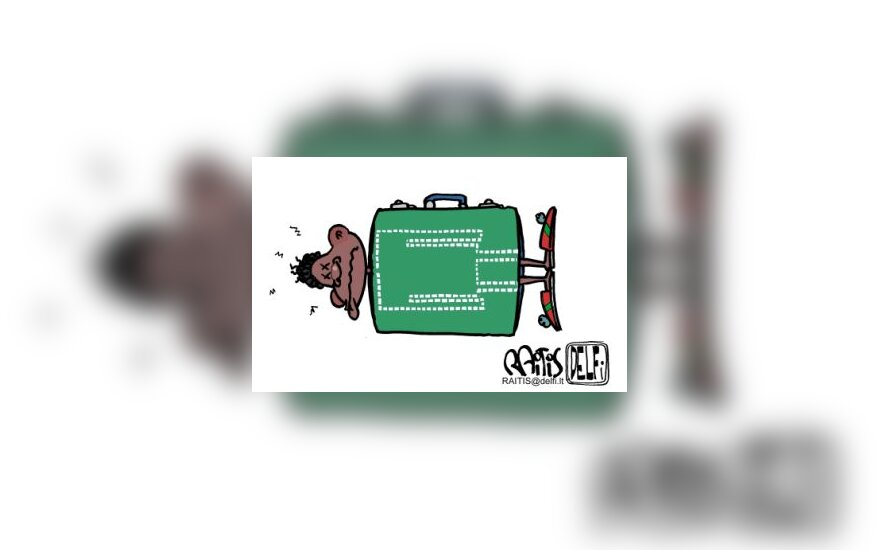 Juodaodis lagamine - karikatūra