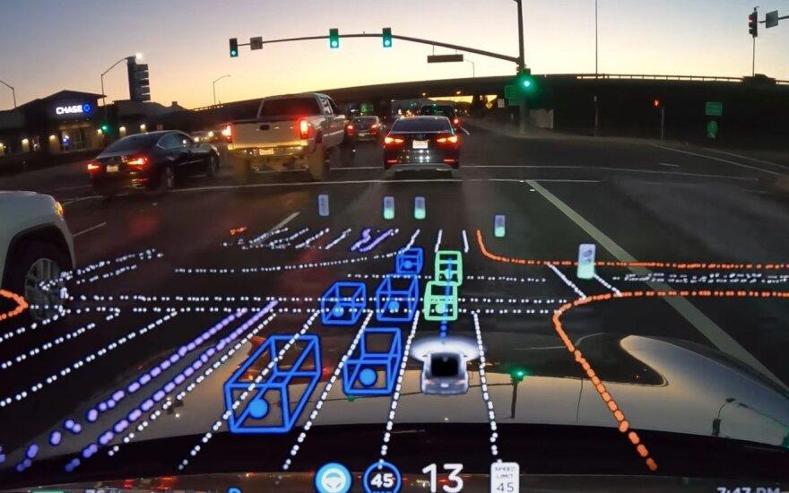 Įspūdinga: štai ką mato autonominis automobilis, važiuodamas miesto gatvėmis