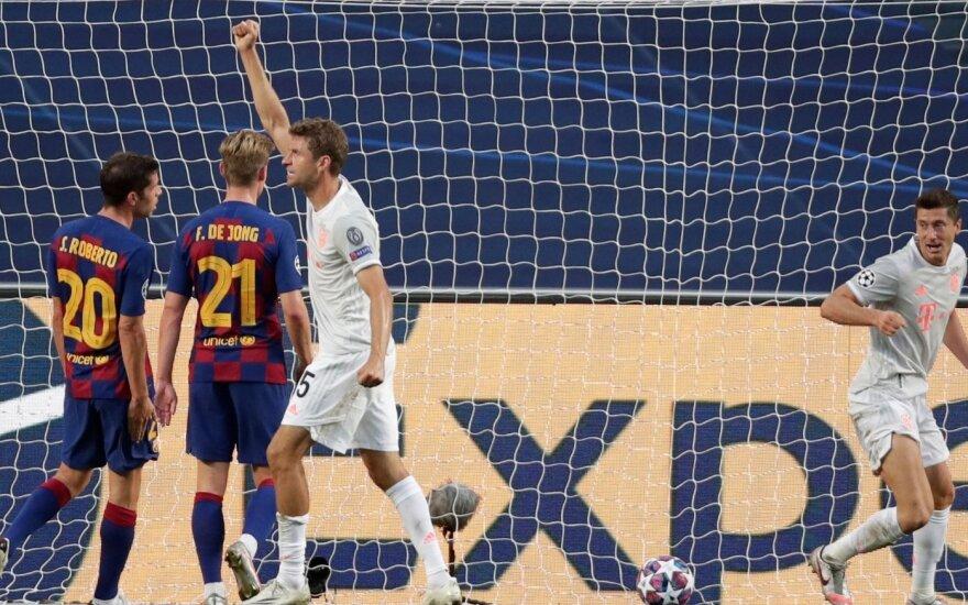 """UEFA Čempionų lygoje – net aštuoni """"Bayern"""" įvarčiai į """"Barcelonos"""" vartus"""
