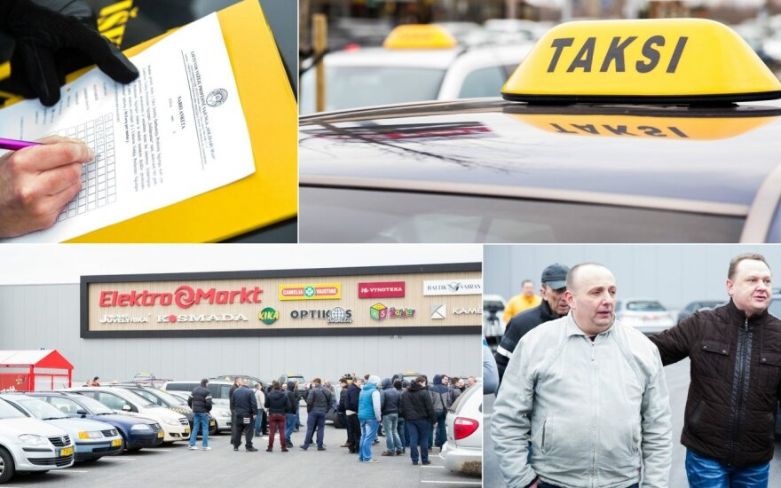 """Prie prekybos centro """"Ikea"""" rinkosi dėl """"Uber"""" sunerimę taksistai"""