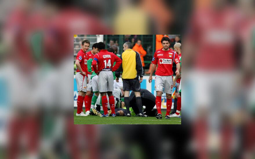 """Lyon"" ir ""Saint-Etienne"" ekipų rungtynių akimirka"