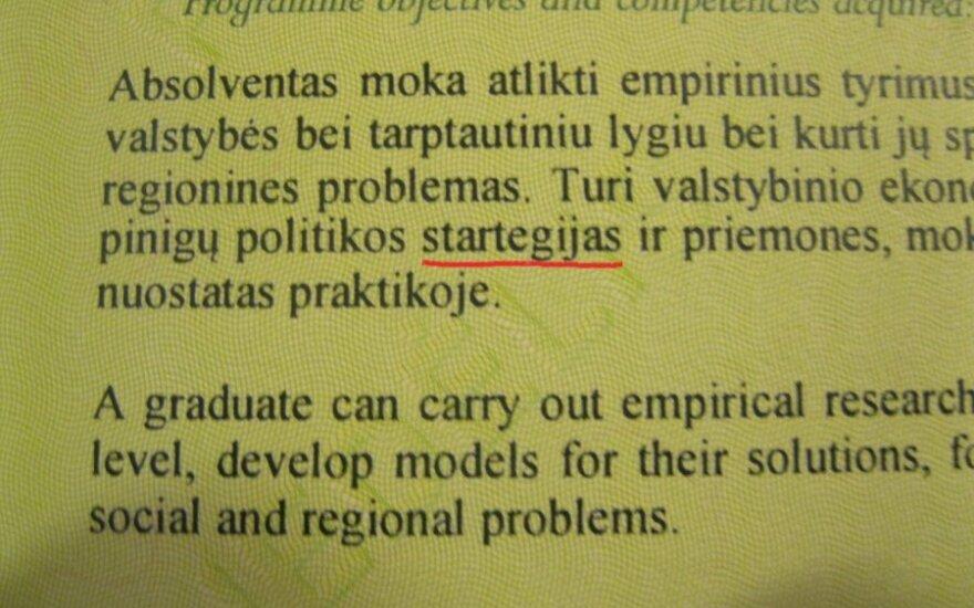 VU prodekanas apie klaidų diplome radusius studentus: jeigu dėl vienos raidės skandalą kelia, tai tikrai žmogus nesveikas