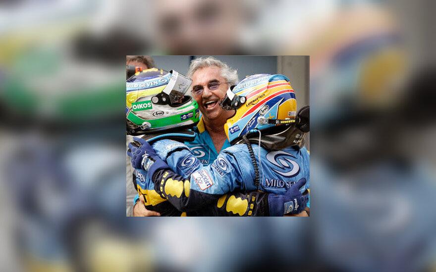 """Flavio Briatore kartu su Fernando Alonso ir Giancarlo Fisichella (""""Renault"""")"""
