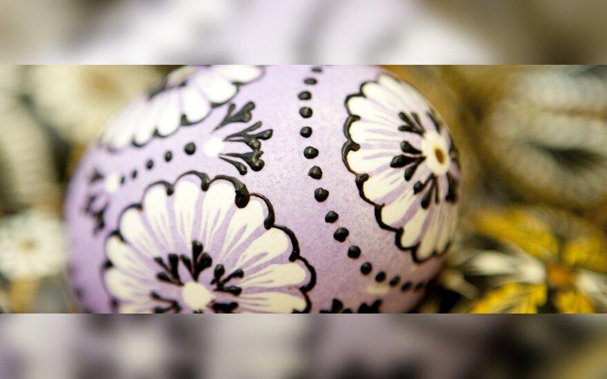 Liaudies menininkės Marijos Banikonienės vašku margintas kiaušinis