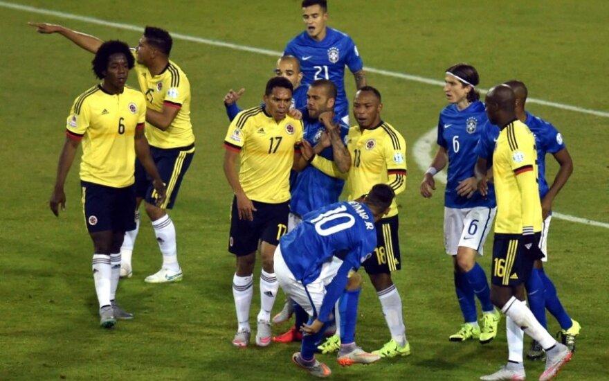 Neymarui – raudona kortelė, brazilams – antausis nuo Kolumbijos rinktinės