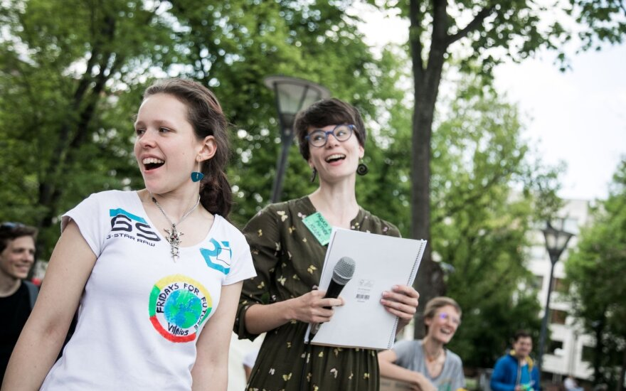 Young people in Vilnius and Klaipeda joined climate change protests