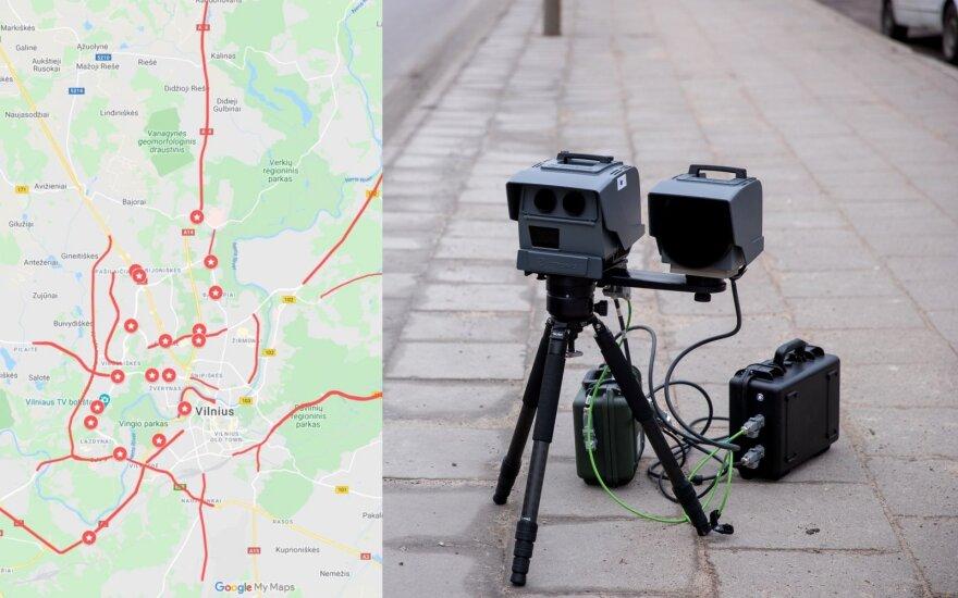 """Sudarytas žemėlapis, kur tiksliai Vilniuje stovi policijos """"trikojai"""""""
