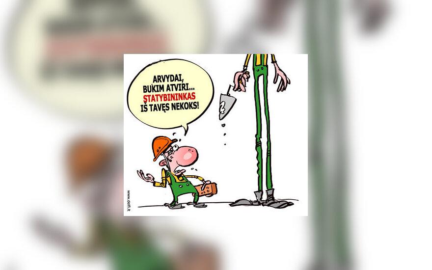 Arvydas Sabonis statybose - karikatūra
