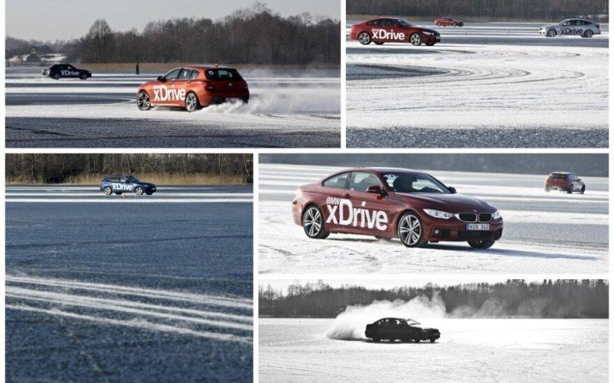 BMW xDrive bandymai ant užšalusio ežero