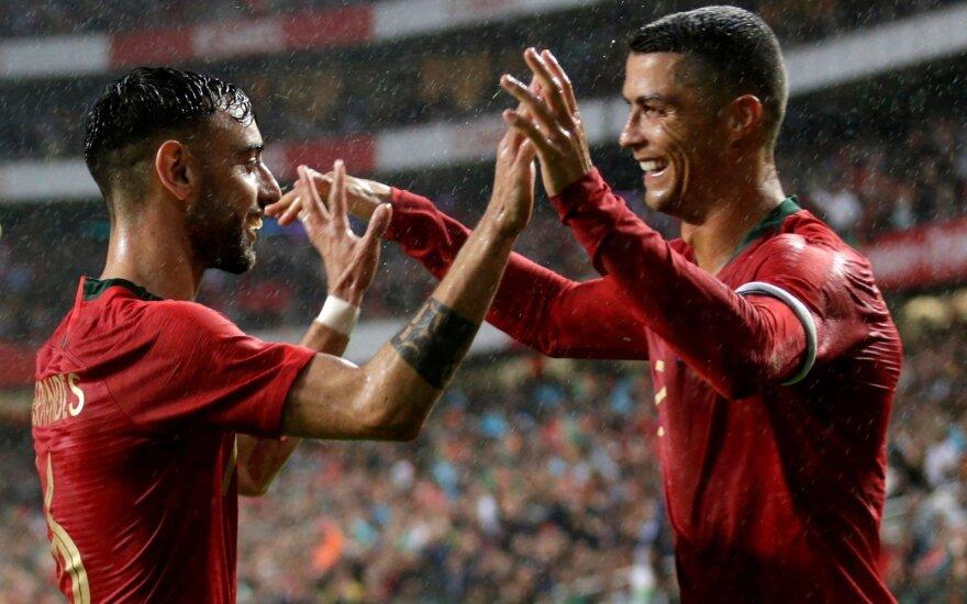 Bruno Fernandesas ir Cristiano Ronaldo