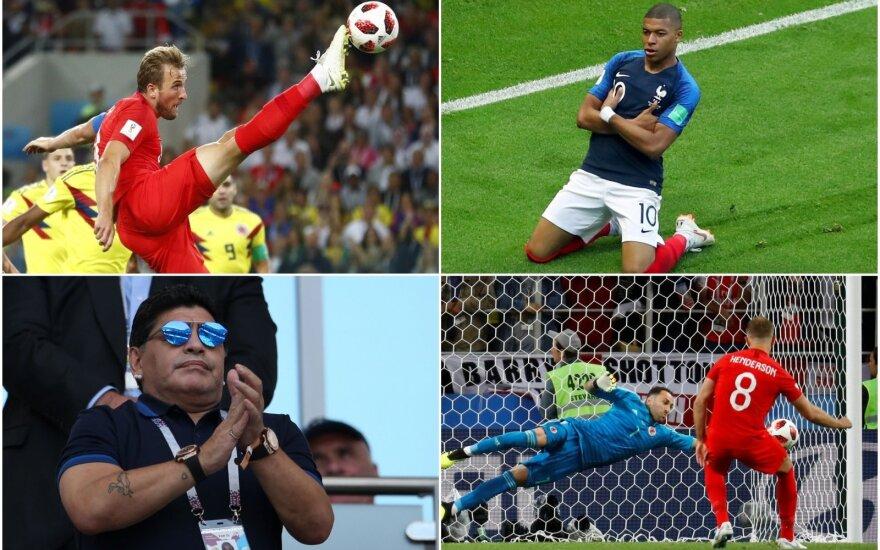 Hary Kane'as, Kylianas Mbappe, Diego Maradona, Jordanas Hendersonas