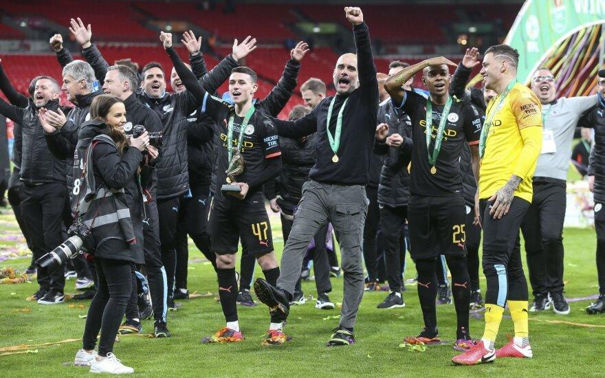 """Guardiolos paguoda: """"Man City"""" iškovojo Anglijos lygos taurę"""