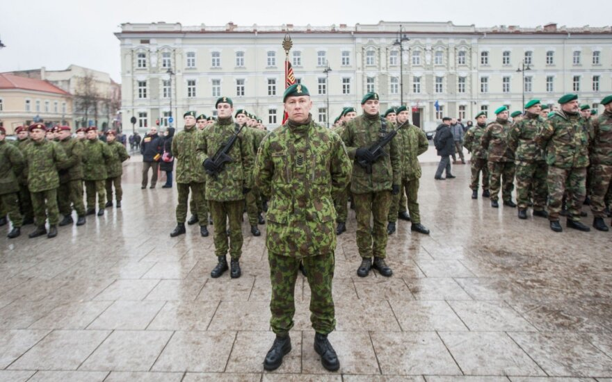 Lithuanian troops during the flag raising ceremony in Vilnius 2017